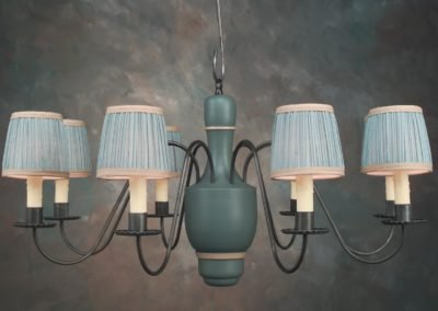 Wooden Center Chandelier CH109 Painted Rittenhouse Blue With Ivory & Optional Shades