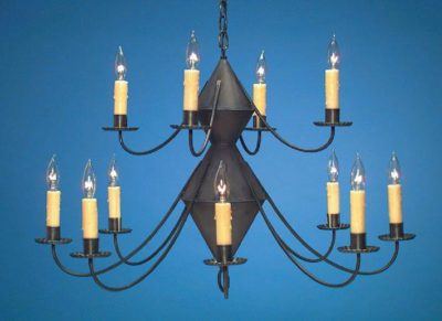 Hammerworks Reproduction Colonial Tin Chandeliers 2 Tier Ch201