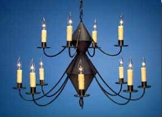 Reproduction Colonial Tin Chandeliers: Hammerworks 2 Tier Chandelier Ch201