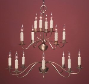 Hammerworks French Country Chandeliers FCCH502 3 Tier Shown in Antique Brass