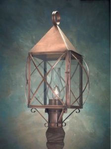 Hammerworks Colonial Post Lantern PP119 Handmade In Antique Copper
