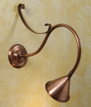 Hammerworks Gooseneck Sign Lights SL501A Shown In Solid Antique Copper