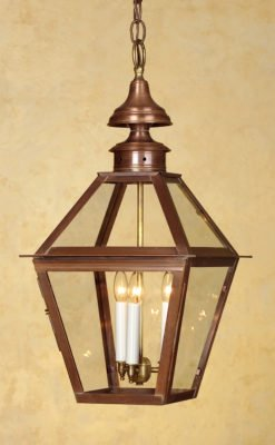 Colonial Copper Hanging Lantern: Hammerworks Hanging Light H212
