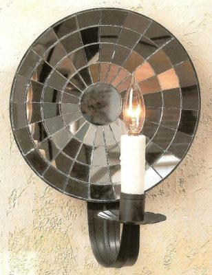 Colonial Cut Mirrored Tin Wall Sconce: Hammerworks Wall Sconce M1