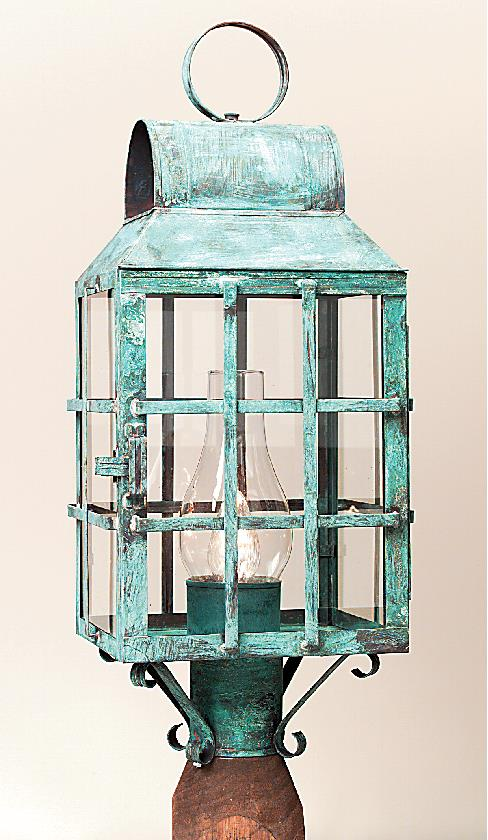 Hammerworks Copper Outdoor Post Lanterns 1003P Shown In Verde Copper