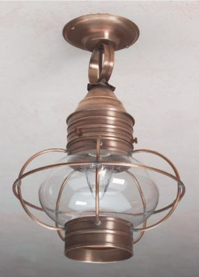 Hammerworks Colonial Ceiling Onion Lanterns OCL108 Shown In Antique Brass