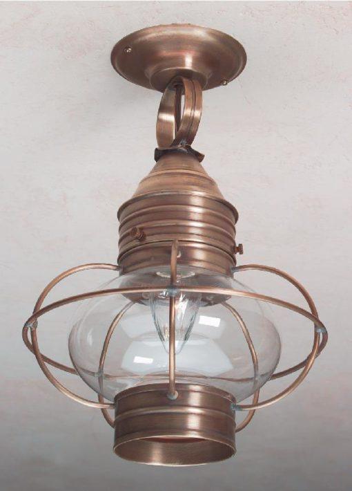 Hammerworks Colonial Ceiling Onion Lanterns OCL108 Shown In Antique Brass