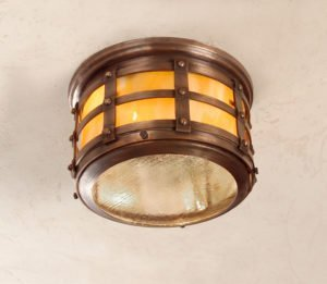 Hammerworks Tudor Style Ceiling Lights OWC1 Handcrafted In Antique Copper