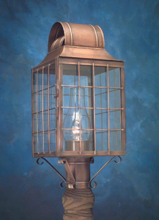 Hammerworks Cape Cod Style Post Lantern P110 Handcrafted In Antique Copper
