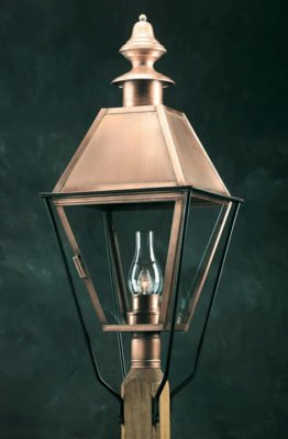 Hammerworks Reproduction Colonial Post Lantern 930BPC Handcrafted In Solid Copper With Antique Finish