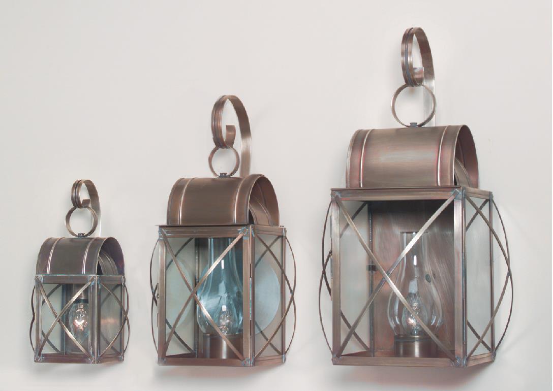Hammerworks Outdoor Copper Wall Lanterns - Culvert Series Shown In 3 Sizes