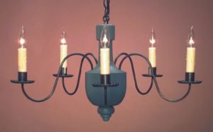 Colonial Painted Wooden Chandelier: Hammerworks Model CH108