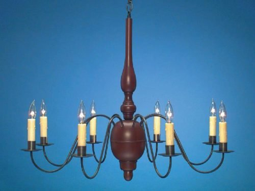 Hammerworks Country Wooden Chandeliers CH203 Hand Painted In Richardson House Red with Glaze With Antique Tin Arms