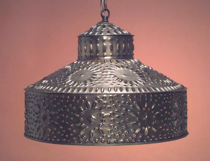 Vanity Light Wood Metal With Punched Tin Lamp Shades: Antique Tin Pierced Pendant Light Shade & Shades