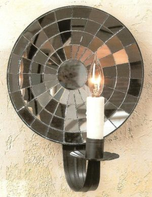 Hammerworks Colonial Cut Mirrored Tin Wall Sconce M1