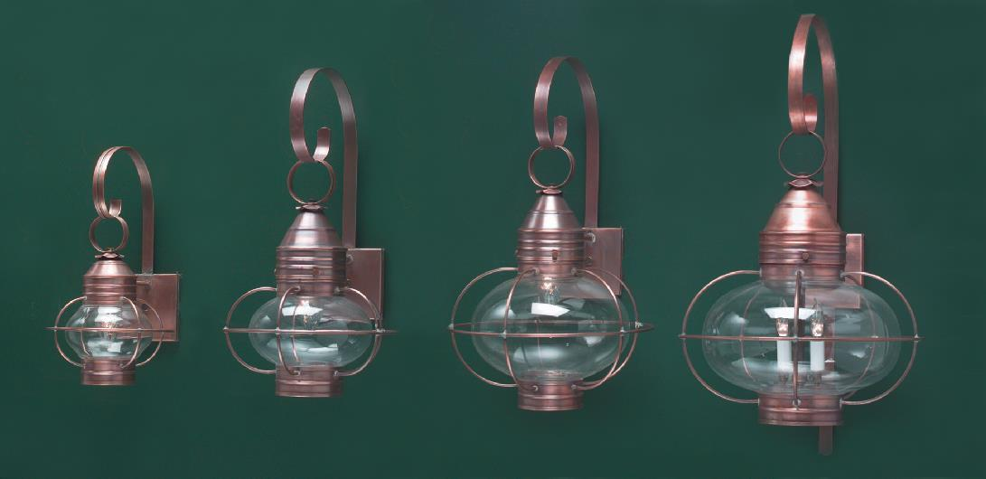 Hammerworks Reproduction Copper Onion Wall Lanterns