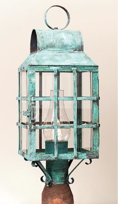 Hammerworks Outdoor Copper Post Lanterns 1003P Shown In Verde Copper