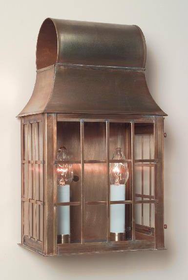 Hammerworks Early American Wall Lantern W111 Shown Handcrafted With Solid Antique Brass