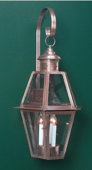 Hammerworks New England Traditional Wall Lantern: Small Coach WM105A Shown In Handcrafted Copper Finish