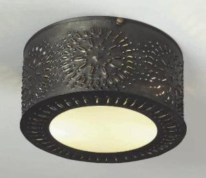 Hammerworks Pierced Antique Ceiling Light: Model # CL116 Handcrafted In Antique Finish