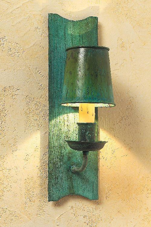 Arts & Crafts Verdigris Copper Wall Sconce & Sconces | Handcrafted