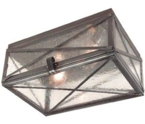 Hammerworks Tin Ceiling Light With Seedy Glass CL114