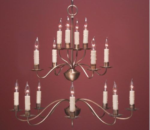 Hammerworks Rustic French Country Style Chandeliers: FCCH502 3 Tier Shown in Antique Brass