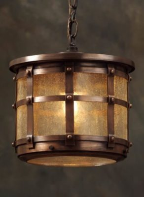 Hammerworks English Tudor Hanging Light Fixture OWH1 Handcrafted With Solid Antique Copper