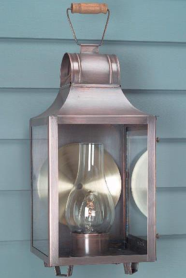 Hammerworks Copper Colonial Wall Light Model # W101 Shown In Antique Finish