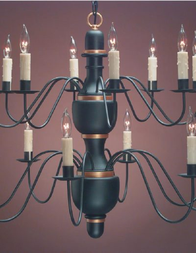 Two Tier Wooden Center Chandelier Ch322 Shown Painted Black With Gold Trin
