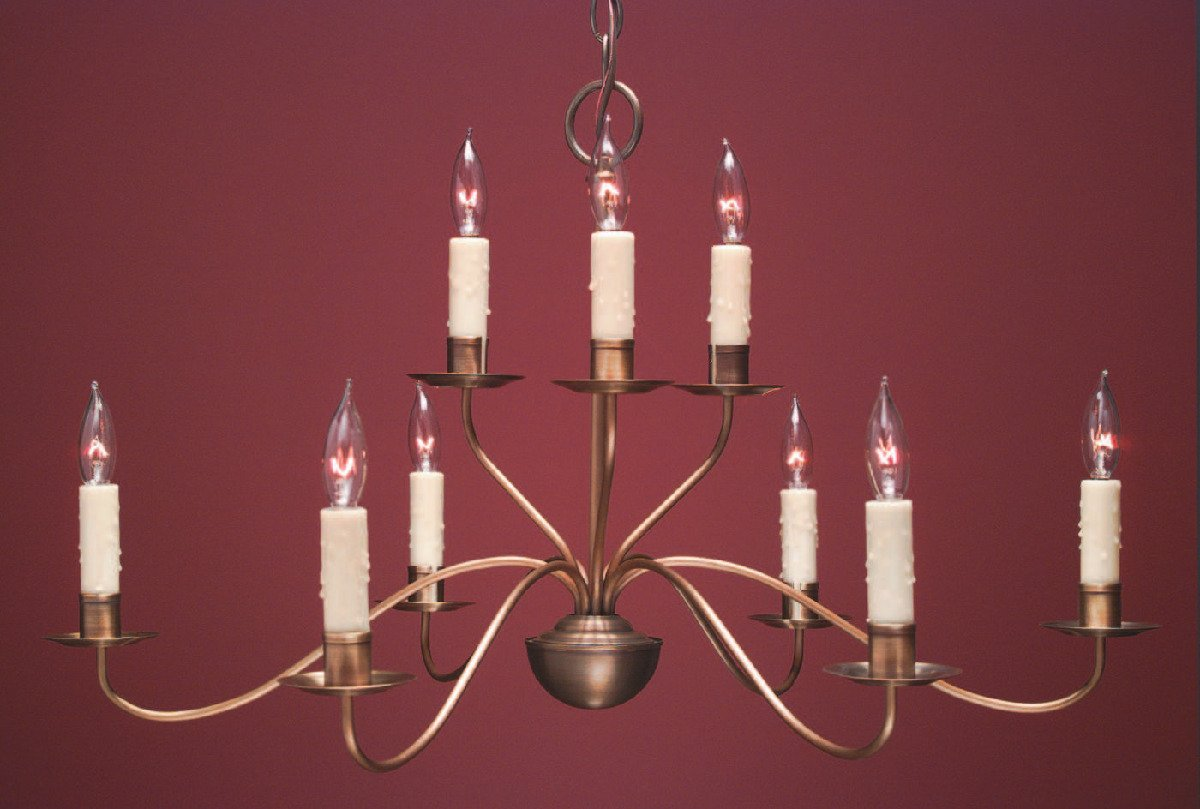 French Country Style Chandeliers FCCH504 Shown In Antique Brass