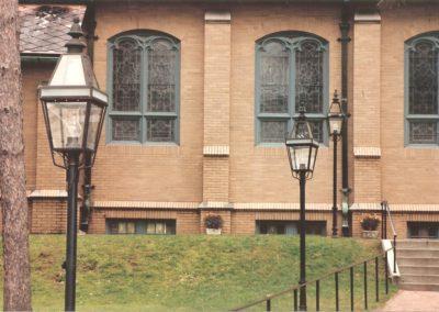 Hammerworks Boston Post Lanterns P103 Shown In Antique Copper