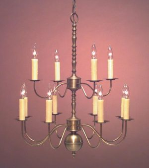 Hammerworks Colonial Brass Dining Room Chandelier CH100 Handcrafted In Antique Finish