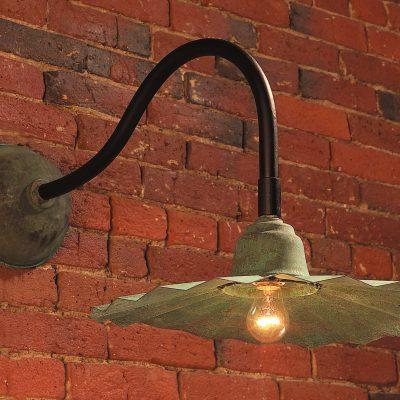 Gooseneck Barn Lighting SL503S Handcrafted Solid Copper Fluted Shade In Verdigris Finish