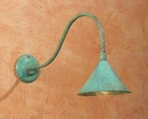 Hammerworks Gooseneck Style Lighting SLS506 Handmade In Solid Copper With Verdigris Finish