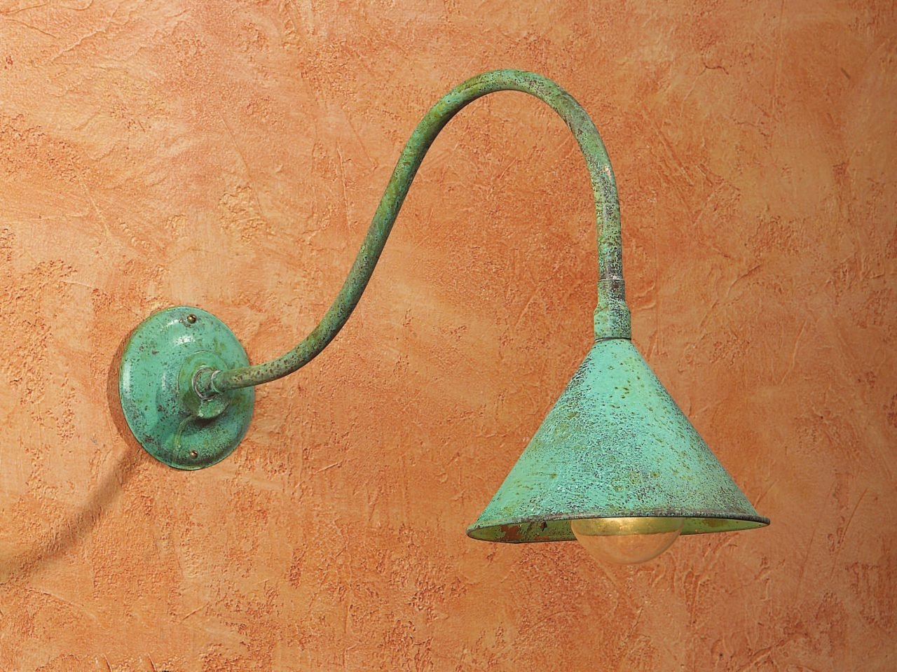Gooseneck Style Lighting SLS506 Handmade In Solid Copper With Verdigris Finish