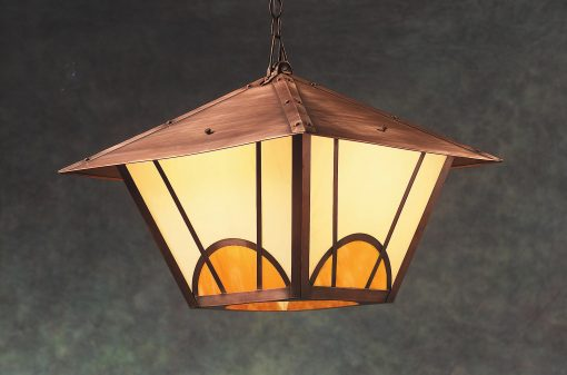 Arts & Crafts Hanging Light ACH336 Handcrafted In Solid Antique Copper