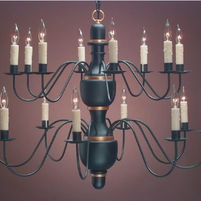 Hammerworks Elegant Colonial Chandeliers | CH322 Hand Turned Wood Center