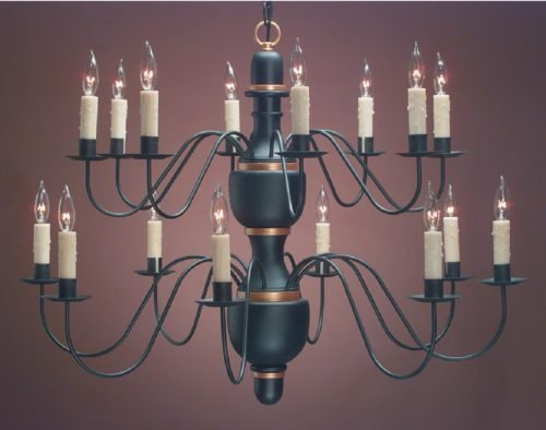 Hammerworks Elegant Colonial Chandeliers | CH322 Hand Turned Wood Center Shown In 2-Tier 16 Arms Painted Black With Gold Trim