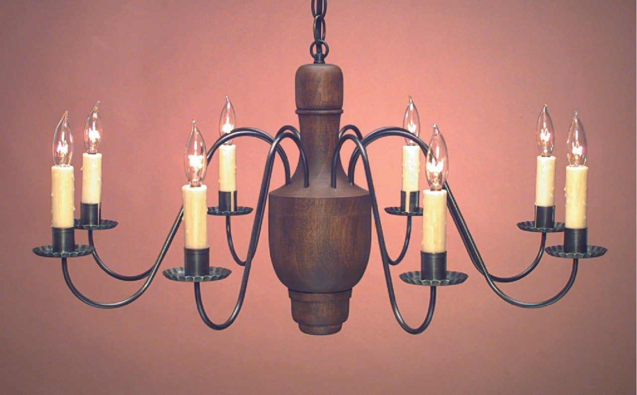 Early American Reproduction Wood Chandelier CH109