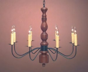 Hammerworks Colonial Home Wooden Chandelier CH121 Hand Turned Center With Antique Tin Arms