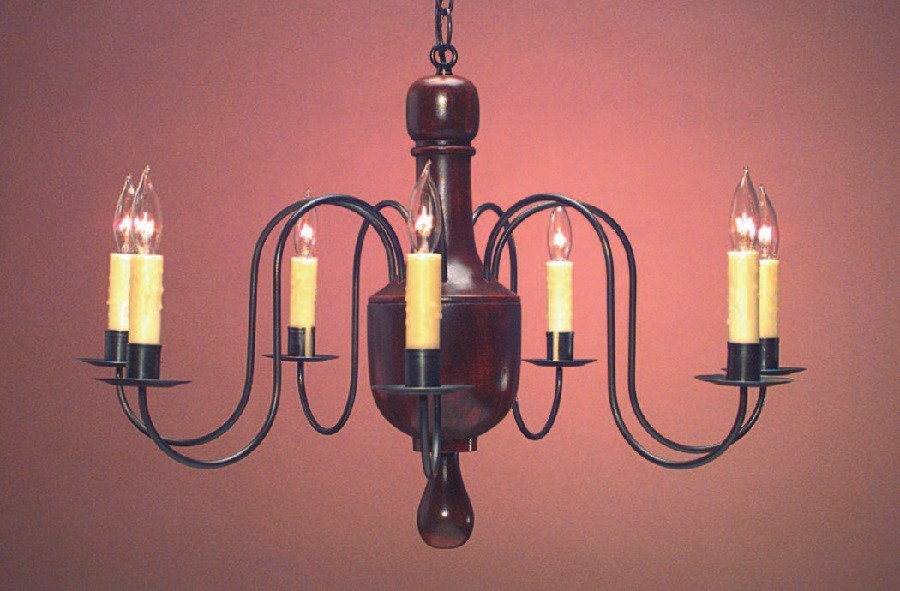 Early American Reproduction Wooden Chandelier CH123