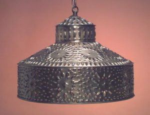 Hammerworks Antique Tin Pierced Pendant Light Shade SH102 Handcrafted In America