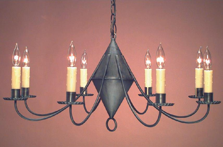 Hammerworks Reproduction Colonial Tin Chandelier CH103 Handcrafted In Antique Finish