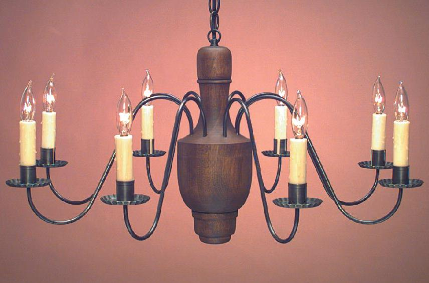 Hammerworks Handcrafted Colonial Wood Center Chandelier CH109 In A Dark Stain With Antique Tin Arms