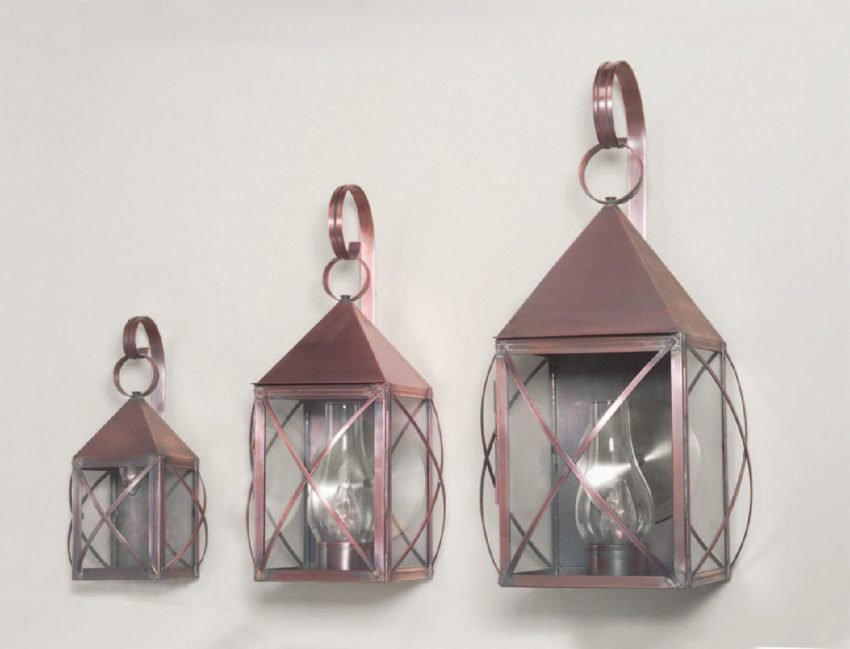 Solid Antique Brass Colonial Wall Lanterns: Pyramid Series