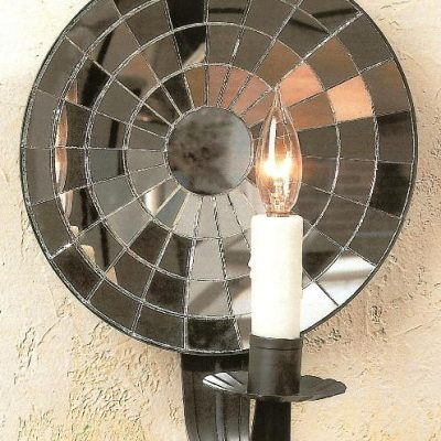 Hammerworks Colonial Rustic Cut Mirrored Tin Wall Sconce M1