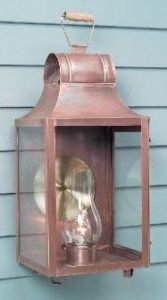 Hammerworks Colonial Style Wall Lantern W102 Handcrafted With Solid Copper In Antique Finish