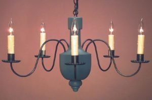 Hammerworks Hand Painted Wooden Chandelier CH108 With Antique Tin Arms
