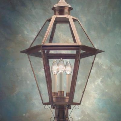 Hammerworks Copper Outdoor Post Lanterns P105 Is Hand Made With Antique Copper Or Brass In USA